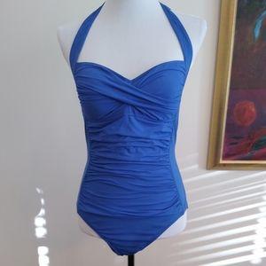 Liz Claiborne one piece swim suit, royal blue, sz8